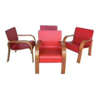 Set of Four Bent Plywood Lounge Chairs For Sale