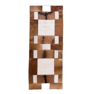 "Unique Handmade Cowhide Patchwork Hallway Runner - 6'8"" X 2'7"""