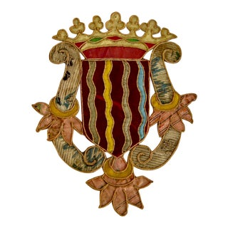 19th Century Italian Duke Coat of Arms Armorial Embroidery For Sale