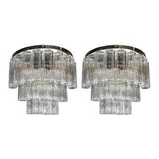 Pair of Mid-Century Modernist Three-Tier Tronchi Sconces with Brass Fittings For Sale