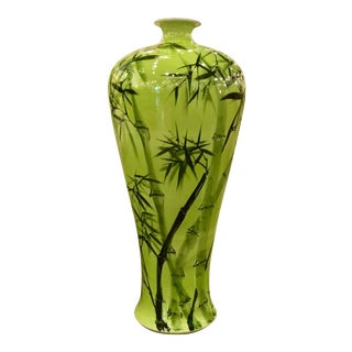 Mid-Century Modern Chartreuse Green Bamboo Motif Floor Vase For Sale