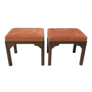 Mid Century Ethan Allen Rust Orange Velvet Stools - a Pair For Sale