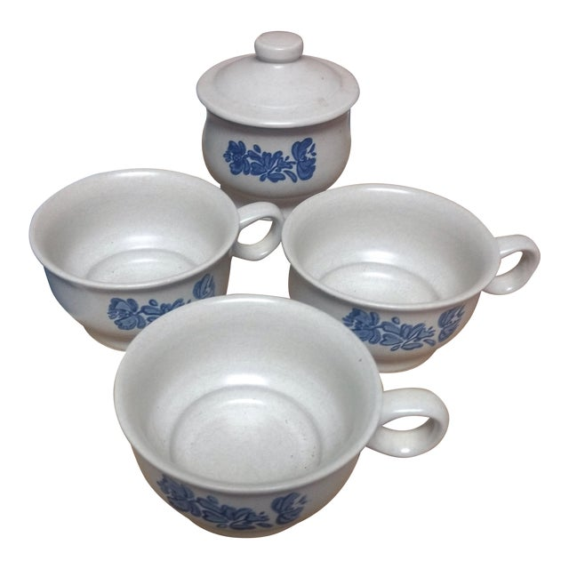Blue Floral Cups & Sugar - Set of 4 - Image 1 of 4