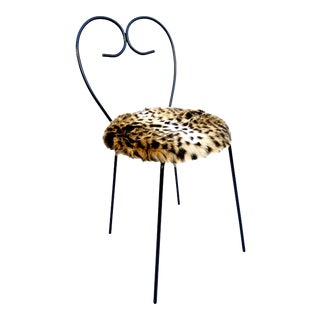 Mid-Century Heart Shaped Metal & Leopard Faux Fur Vanity Chair