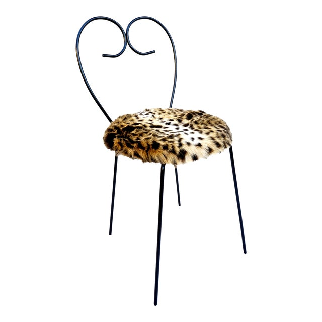 Mid-Century Heart Shaped Metal & Leopard Faux Fur Vanity Chair - Image 1 of 11