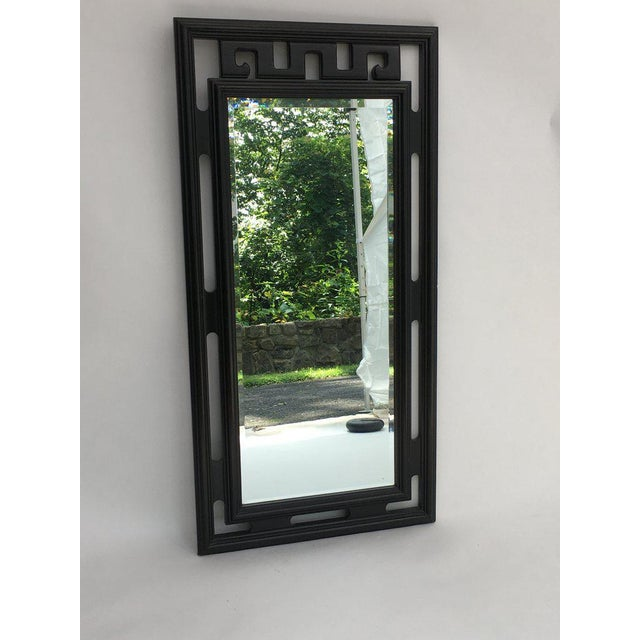 Asian FInal Markdown Large James Mont Style Large Carved Greek Key Wood Mirror For Sale - Image 3 of 10
