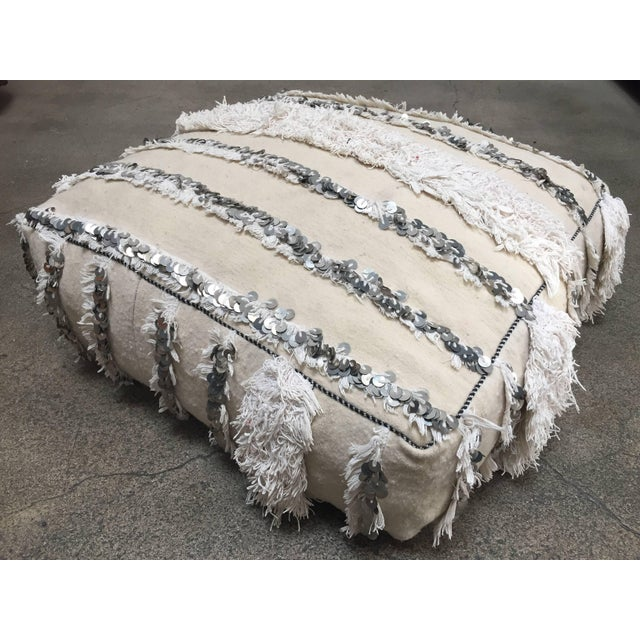 Textile Moroccan Wedding Floor Pillow Pouf with Silver Sequins and Long Fringes For Sale - Image 7 of 10