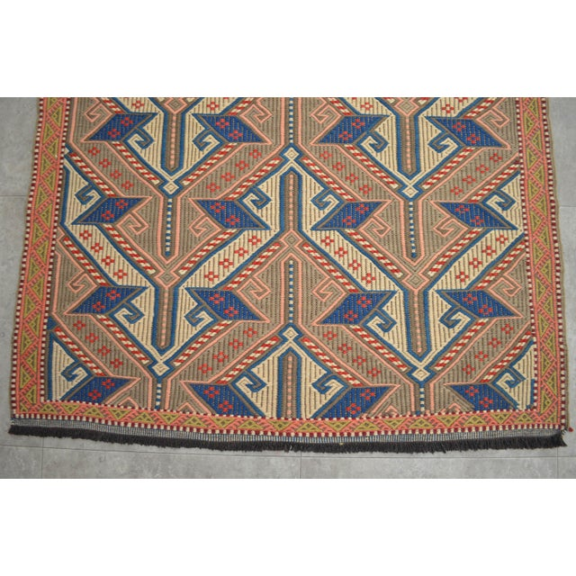 """Textile Vintage Masterpiece Braided Rug. Hand Woven Small Area Rug - 3' 7"""" X 6' For Sale - Image 7 of 10"""