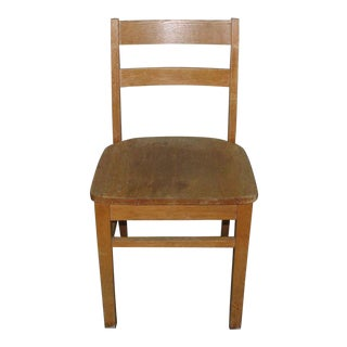 Vintage Oak Ladder Back School Chair For Sale