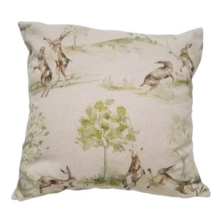 Rabbits Jumping and Playing Square Pillow For Sale