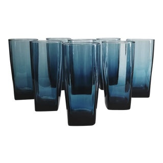 Mid-Century Dark Blue Highball Cocktail Glasses With Square Bases - Set of 8 For Sale
