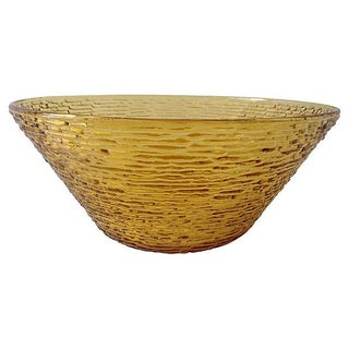 Vintage Bamboo-Style Amber Salad Serving Bowl by Anchor Hocking For Sale