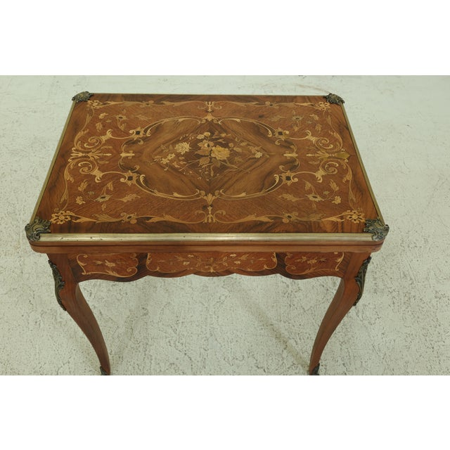 Item: F31987EC: Vintage 1920s Highly Inlaid French Louis XV Games Table Age: C.1920s Details: High Quality Construction...