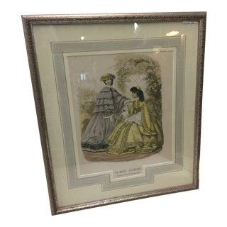 Antique French Fashion Print La Mode Illustree For Sale