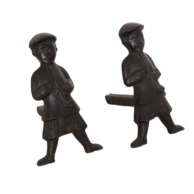 Metal Antique Scottish Smoker Andirons - a Pair For Sale - Image 7 of 7