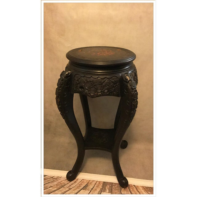 Vintage Asian Chinese Carved Plant Stand Table For Sale - Image 9 of 11