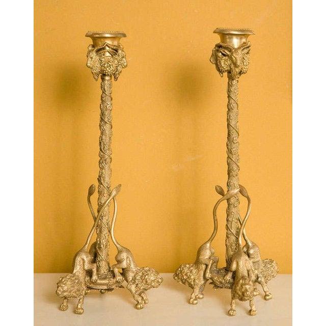 Pair Renaissance-Style Gilt Bronze Candlesticks - Image 9 of 10