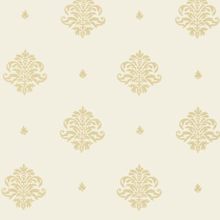 Sample - Schumacher Mayla Damask Wallpaper in Straw For Sale