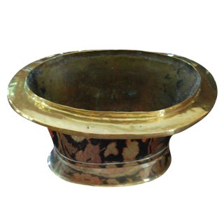 Large Oval Brass Container For Sale