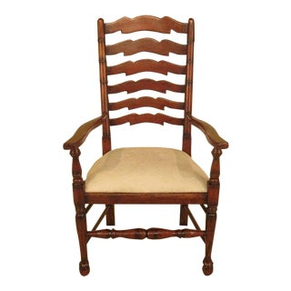 Morgan Hill Rustic Style Ladder Back Arm Chair For Sale