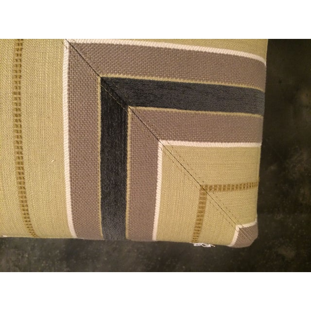 Taylor King Taylor King Upholstered Striped Cube Ottomans - a Pair For Sale - Image 4 of 7