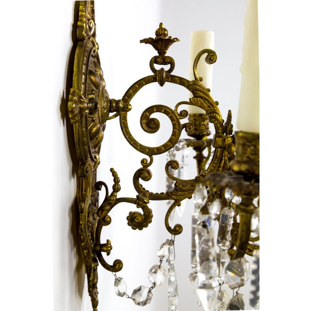 Highly Detailed Belle Epoque Style Sconces (Pair) For Sale - Image 4 of 13