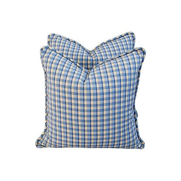 Custom-Made English Plaid Gingham Pillows - A Pair - Image 5 of 7