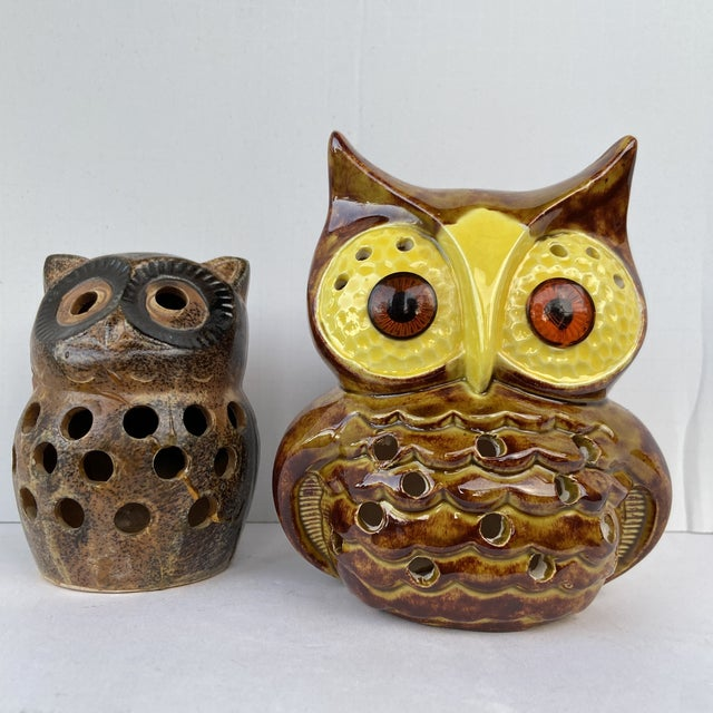 Two votive holders to brighten up your patio. One even still has the original sticker for .79 cents. Smaller Owl measures:...