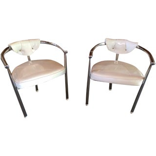 Mid-Century Chrome & Patent Leather Chairs - S/4 For Sale