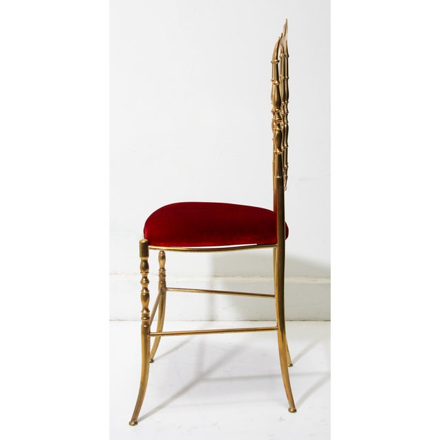 Red Chiavari Polished Brass Chair With Red Velvet, Italy, 1960s For Sale - Image 8 of 10