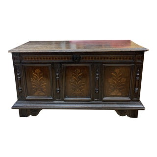 Early-20th Century Wood European + Inlaid Designs Trunk For Sale