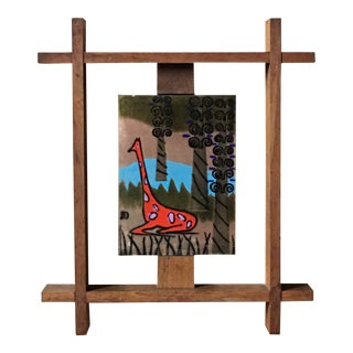 Vintage Mid Century Enamel on Copper Giraffe in Custom Wood Frame Wall or Shelf Art For Sale