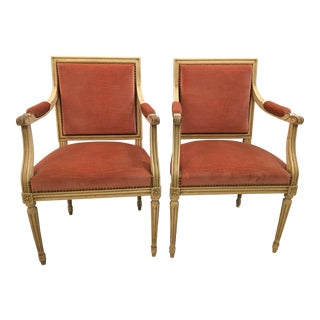 Louis XVI Style Arm Chairs in Pink Velvet - a Pair For Sale
