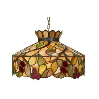 Mid-Century Modern Tiffany Style Stained Glass Pendant Light Fixture For Sale