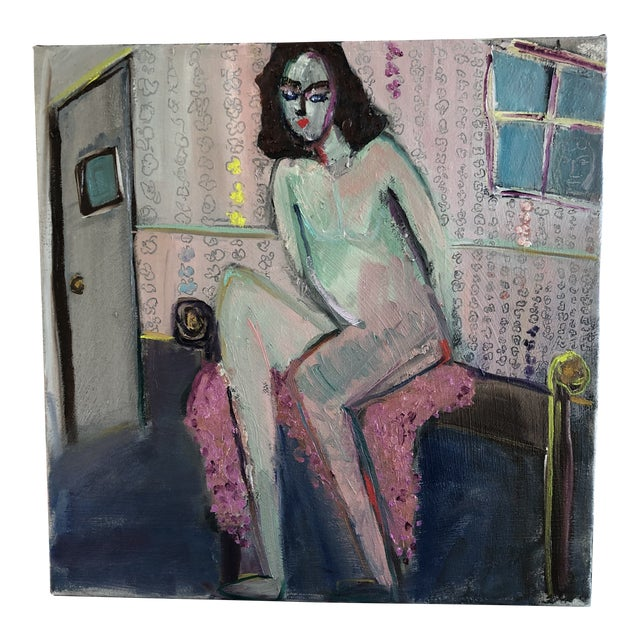 Modern Figure on Bench Painting by Jj Justice For Sale