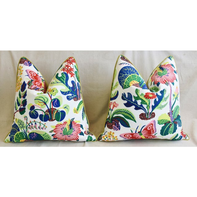 """Schumacher Exotic Butterfly Floral Feather/Down Pillows 24"""" Square - Pair For Sale In Los Angeles - Image 6 of 13"""