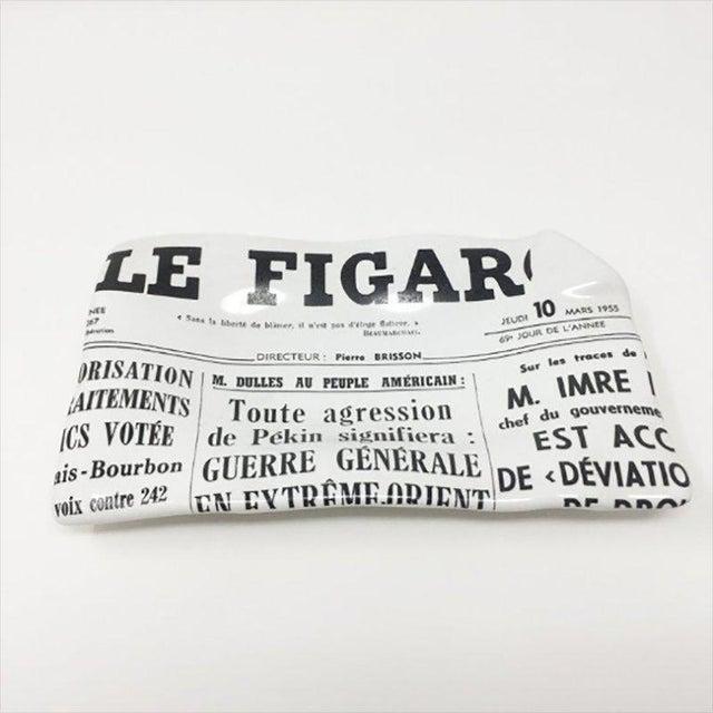 "Original astonishing porcelain empty pocket ""Le Figaro"" designed by Piero Fornasetti. Heavy ceramic construction for use..."