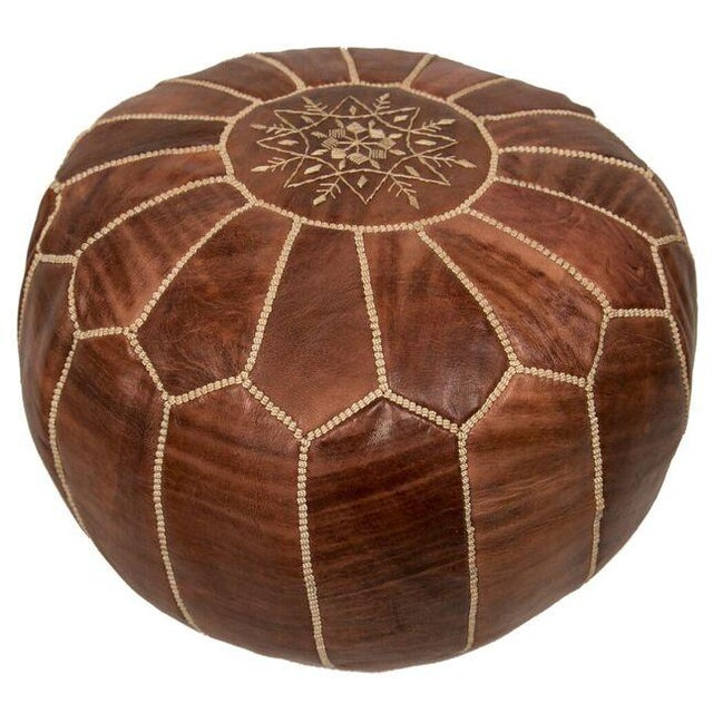 Embroidered Leather Pouf in Chestnut - Image 2 of 3