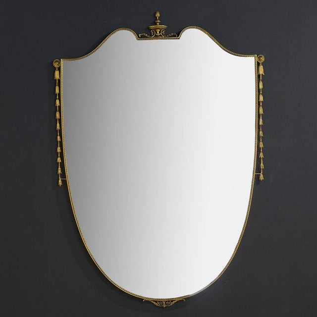 Large Brass Shield Mirror For Sale In Chicago - Image 6 of 6