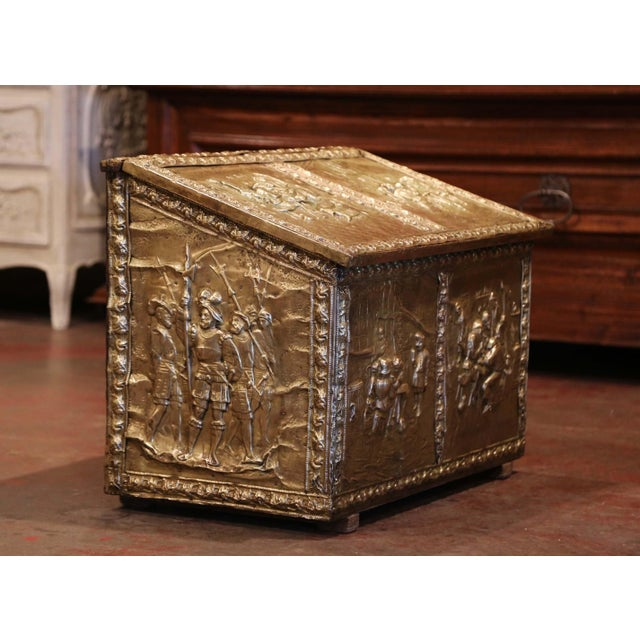 Mid 19th Century 19th Century French Repousse Copper and Wood Box With Tavern Scenes For Sale - Image 5 of 8