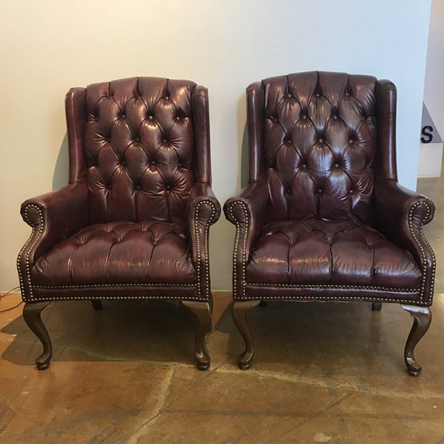 Chesterfield Oxblood Wingback Chairs - A Pair - Image 2 of 11