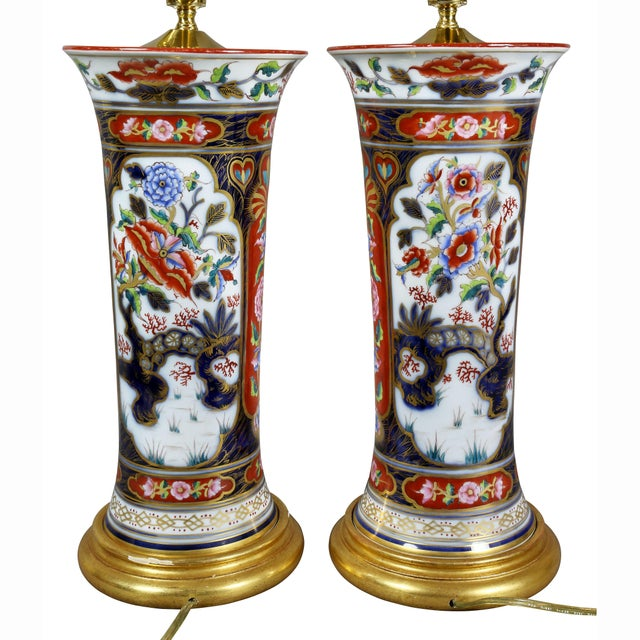 Victorian Imari Pattern Table Lamps - a Pair For Sale - Image 10 of 11