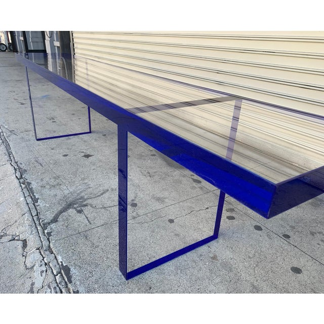 Custom Bench in Deep Blue and Clear Lucite by Cain Modern For Sale - Image 11 of 13