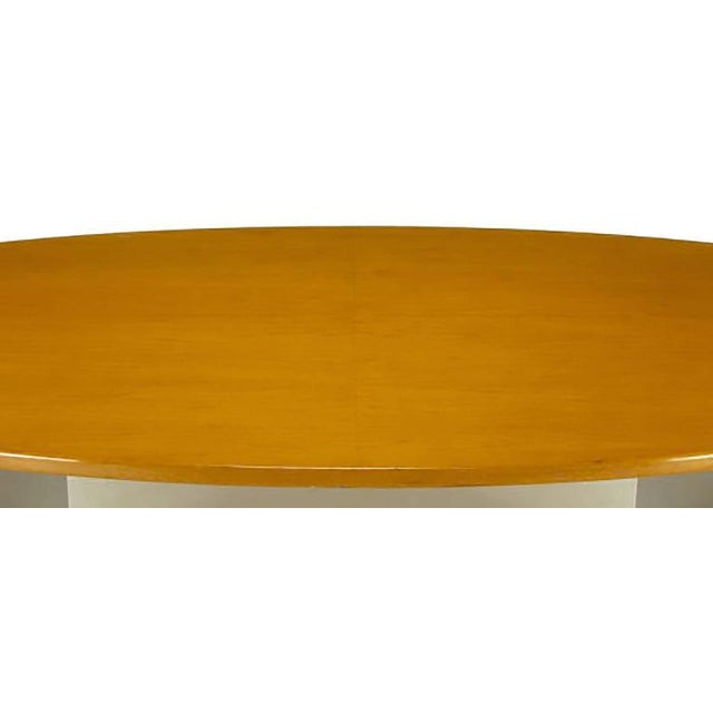 1960s Dunbar Oval Ash and Polished Steel Dining Table For Sale - Image 5 of 6