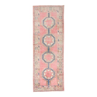 """1965s Vintage Oushak Medallion Pink Blue Wool Hand-Knotted Runner - 4'9"""" X 13'2"""" For Sale"""