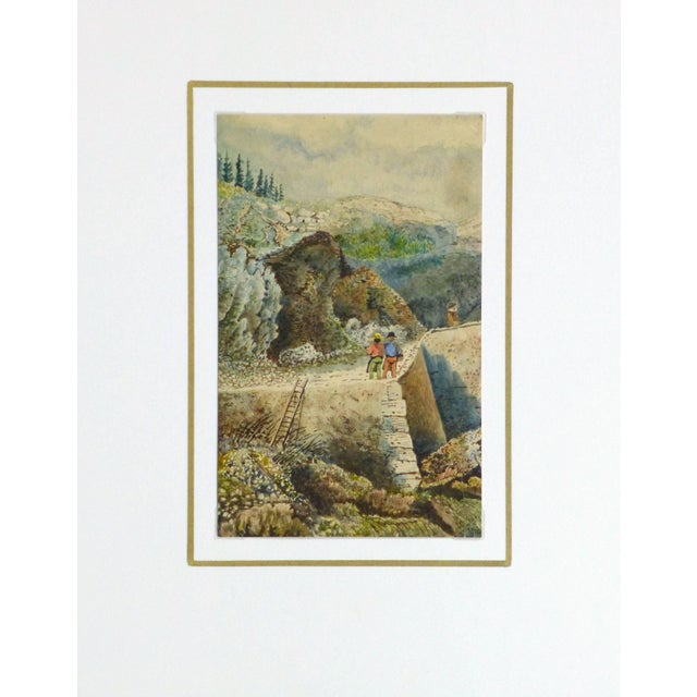 Antique French Watercolor - the Overlook For Sale - Image 4 of 5