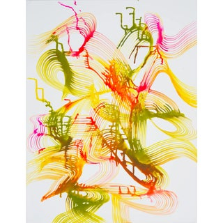 """Lorene Anderson """"Reflected Sounds"""" Bright Colorful Abstract Painting on Paper For Sale"""