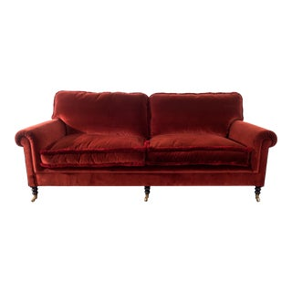 Classic George Smith Maroon Velvet Sofa For Sale
