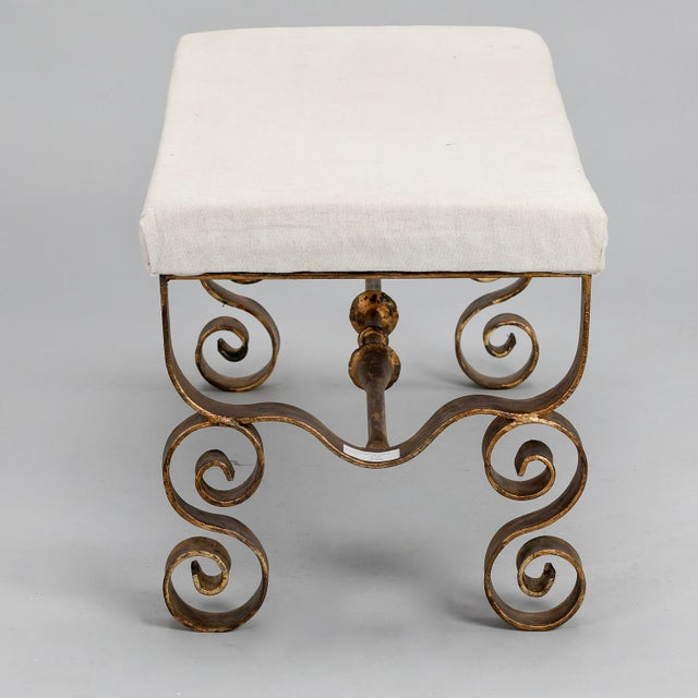 Upholstered Bench with Scrolled Gilt Metal Legs - Image 6 of 8