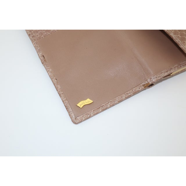 Judith Leiber Taupe Snakeskin Wallet For Sale - Image 9 of 13